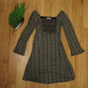 Free People Black Floral Mini Dress Longsleeve